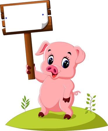 wooden post: Cute pig cartoon