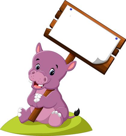 wooden post: Cute hippo cartoon Illustration