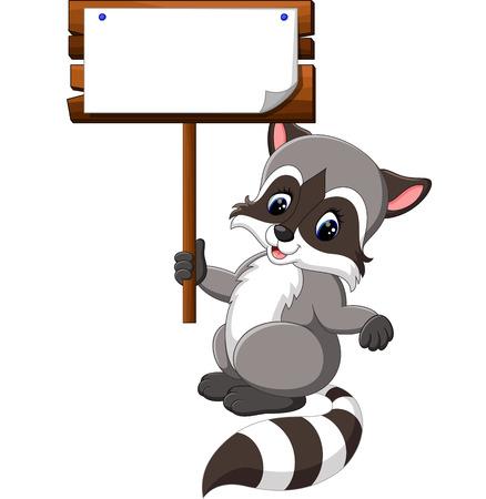 amuse: Cute raccoon cartoon Illustration