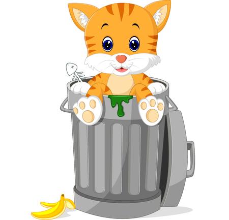쓰레기를 내다 보는 고양이는 할 수있다.