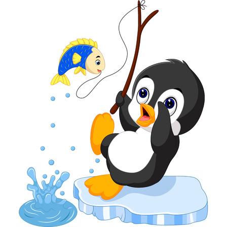 penguin fishing Illustration