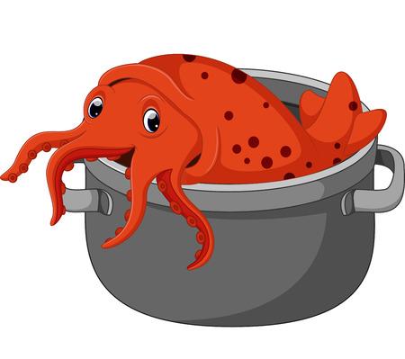 귀여운 오징어 만화 벡터 (일러스트)