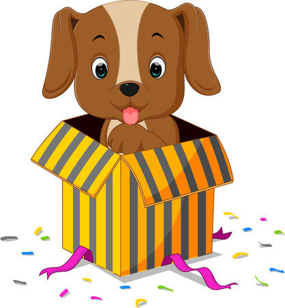 dog cartoon coming out of gift box Illustration