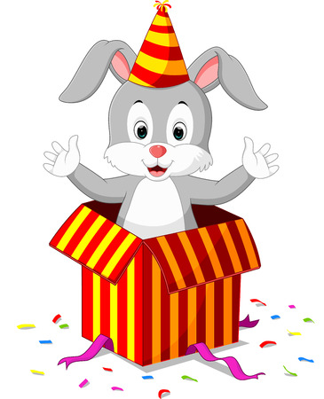coming out: rabbit cartoon coming out of gift box