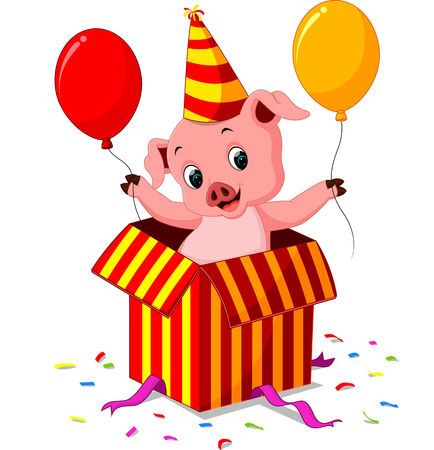 coming out: pig cartoon coming out of gift box Illustration