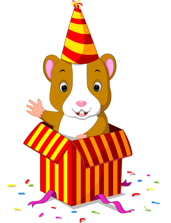 hamster coming out of gift box Illustration