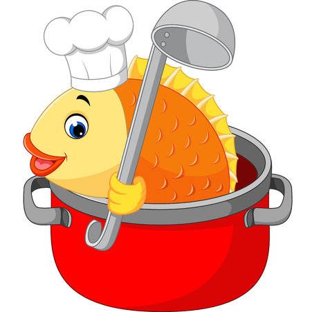 fishy: Cartoon funny fish being cooked in a pan Stock Photo