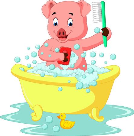 scrubbing: cute pig bathing time Stock Photo