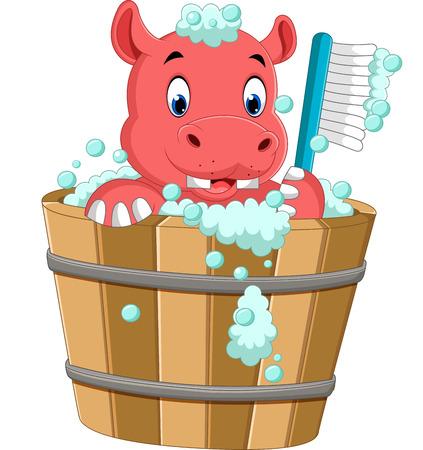 cute hippo bathing time