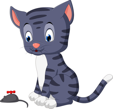 baby playing toy: Cute cat cartoon