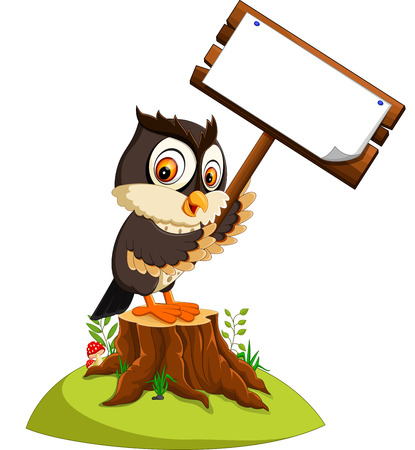 cute owl cartoon Stock Photo