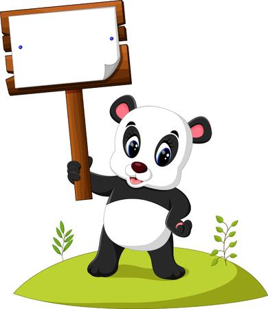 wooden post: Cartoon panda presenting
