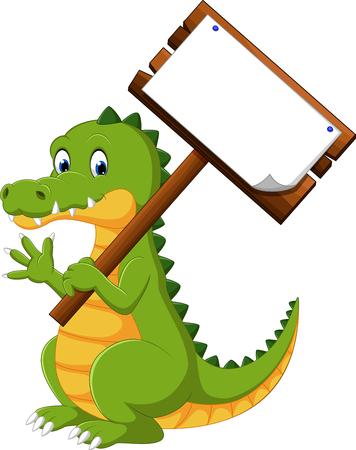 Happy fun crocodile cartoon Stock Photo
