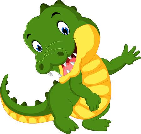 wave hello: Cute crocodile cartoon Stock Photo