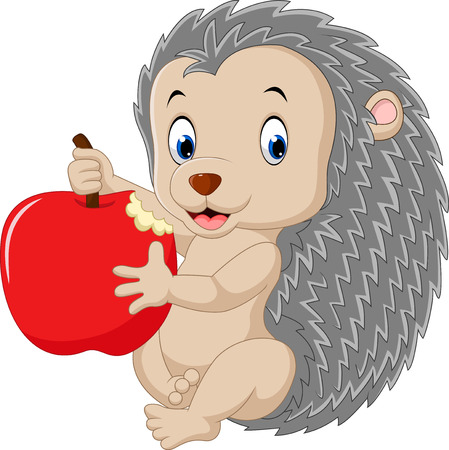 Cute baby hedgehog holding apple Stock Photo