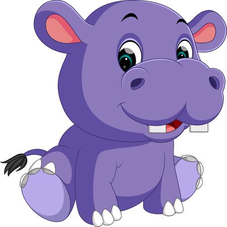 hipopotamo cartoon: Historieta linda del hipopótamo Vectores