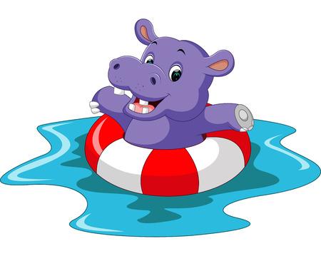 hipopotamo caricatura: Historieta linda del hipopótamo Vectores