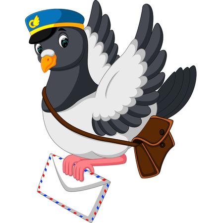 Cartoon funny pigeon bird delivering letter