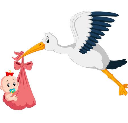 赤ちゃん漫画を持つコウノトリ  イラスト・ベクター素材