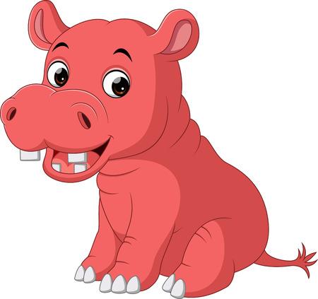 hipopotamo caricatura: Dibujos animados hipopótamo lindo bebé