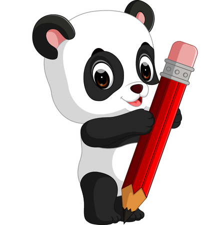 Cute panda cartoon holding pencil