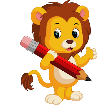 Cute lion cartoon holding pencil Vettoriali
