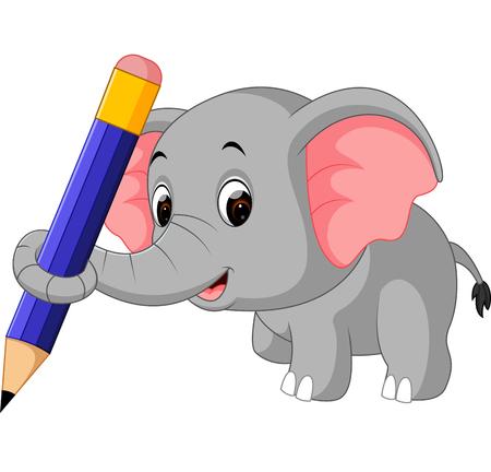 Cute elephant holding pencil Illustration