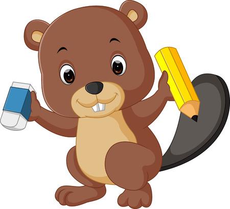 beaver holding pencil