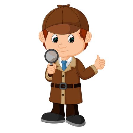 Detektiv Junge Cartoon Vektorgrafik