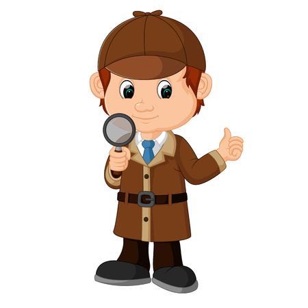 Detektyw chłopiec kreskówka Ilustracje wektorowe