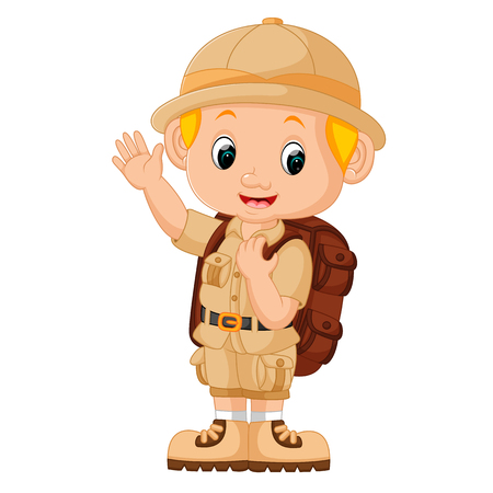 Illustrazione del ragazzo campeggio