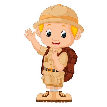 Ilustración del muchacho de camping