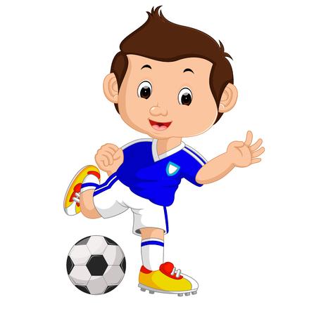 fútbol muchacho que juega la historieta