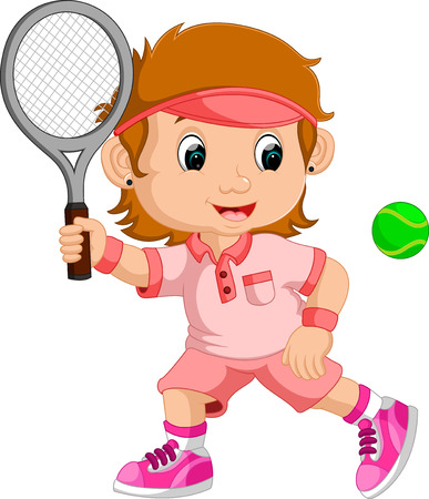 young girl: Young girl playing tennis with a racket Illustration
