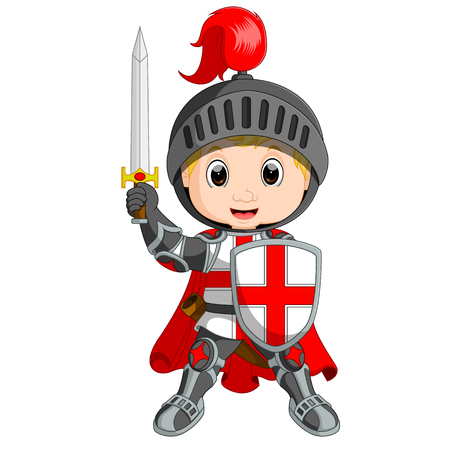 Cartoon knight boy Stock Illustratie