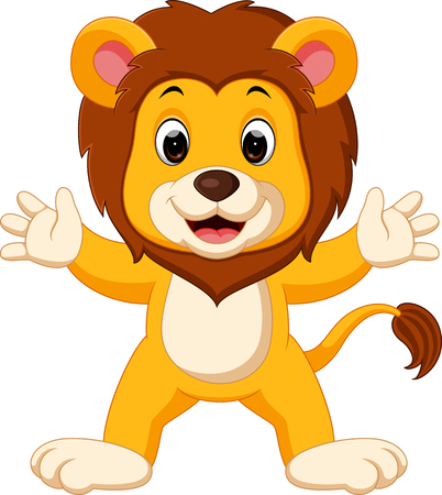 Happy lion cartoon.