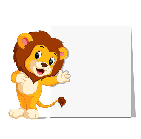 Adorable lion with blank sign. Illustration