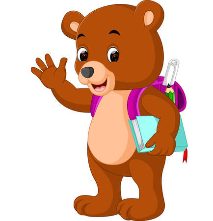cute bear go to school cartoon Illustration