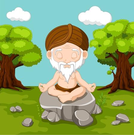 yogi: Meditation old man sitting in lotus position