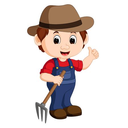 Cartoon jeune agriculteur râteau tenant