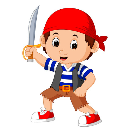 captain cap: Cartoon pirate holding a sword