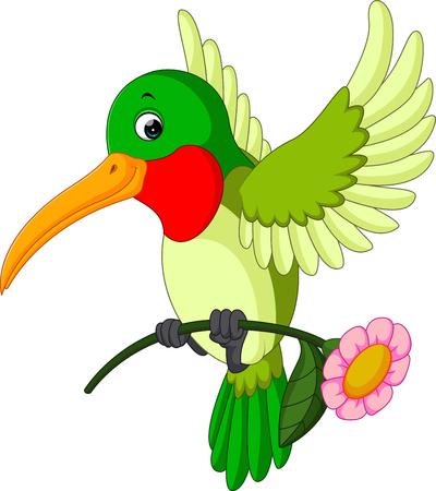 Cartoon funny hummingbird