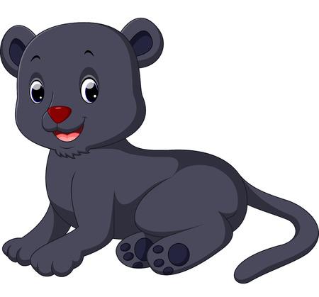 Cute black panther cartoon
