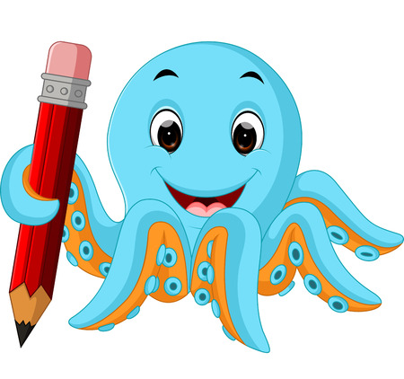 Cartoon octopus holding pencil