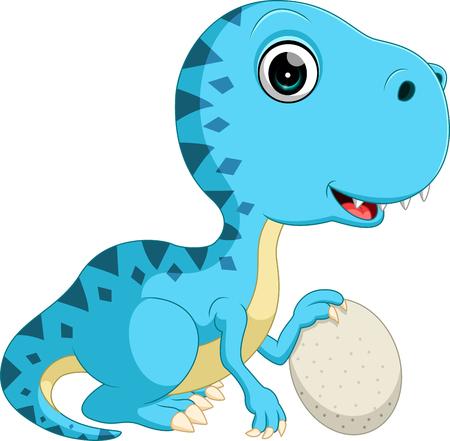 Cute dinosaur holding egg