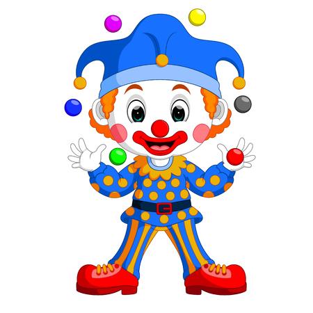 Cartoon clown playing balls Stock Photo