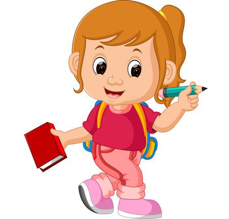 cute girl: Cute girl go to school
