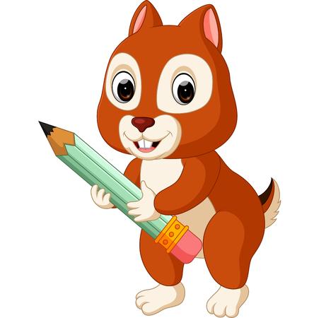 Cute squirrel holding pencil Stock Photo