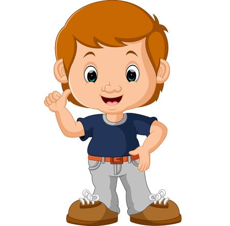 silly face: cute boy cartoon Stock Photo