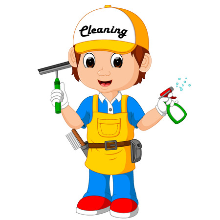 cute cleaning boy Stock Photo